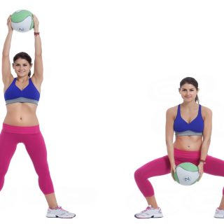 Medicine Ball Squat With Overhead Lift